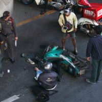 Motorcycle accident on intersection