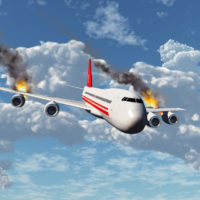 Plane on fire while in air